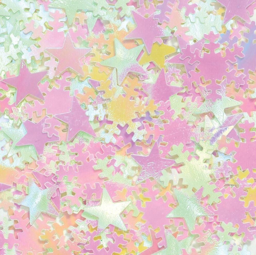 Iridescent Star & Snowflake Sequins - 200ml Tub - Each