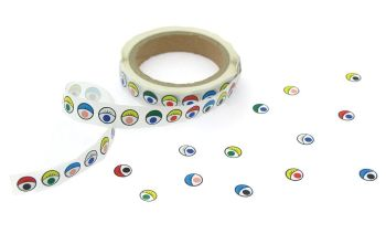 Coloured Eye Stickers on a Roll - Assorted - Roll of 1000 - Each