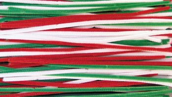 Festive Chenille Pipe Cleaners - Assorted - 6mm x 30cm - Pack of 100