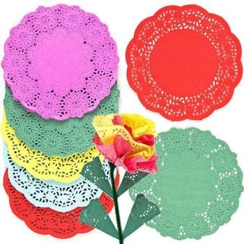 Coloured Round Paper Doillies - Assorted - 16cm - HE176923 - Pack of 120