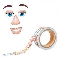 Face Feature Stickers on a Roll - Assorted - Roll of 1350 - Each