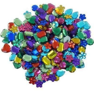 Large Acrylic Jewels - Assorted - 200g Bag