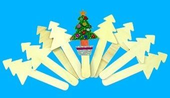 Christmas Tree Shaped Wooden Craft Sticks - Assorted - 12cm - Pack of 10