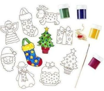 Christmas Stained 'Glass' Tree Decorations - Assorted - Pack of 24 + 4 Glass Paints