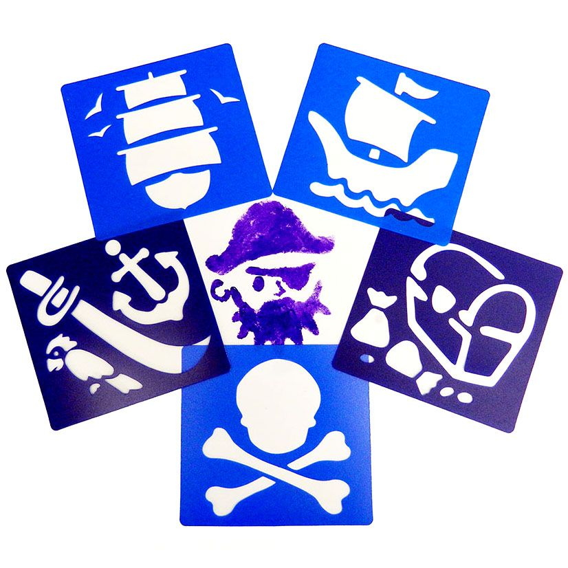 Pirate Washable Paint Stencils - Assorted - Pack of 6