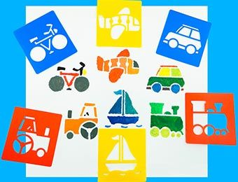 Transport Washable Paint Stencils - Assorted - Pack of 6