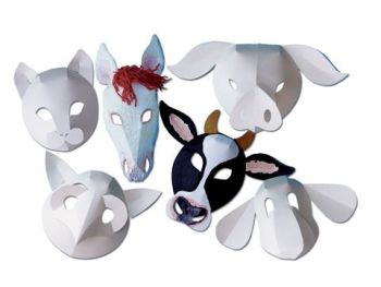 Farmyard Animal Fold-Up Masks - Assorted - Pack of 30