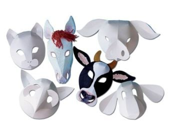 Farmyard Animal Fold-Up Masks - Assorted - Pack of 30
