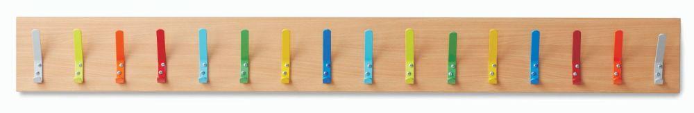 Beech Cloakroom Coat Hooks with 16 Hooks - Please Select Colour - 1500 x 18