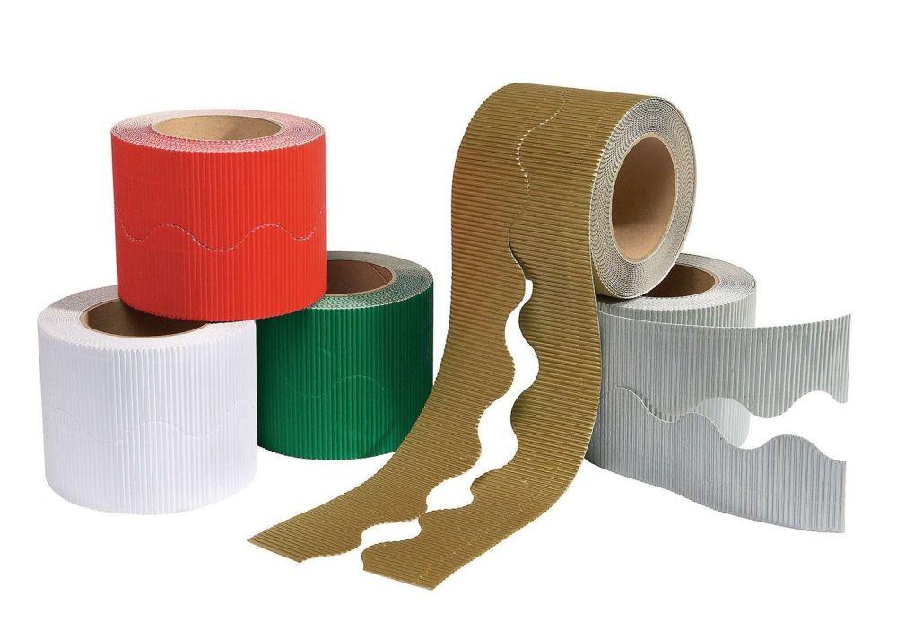 Educraft Festive Colours Micro-Flute Scalloped Corrugated Border Rolls - As