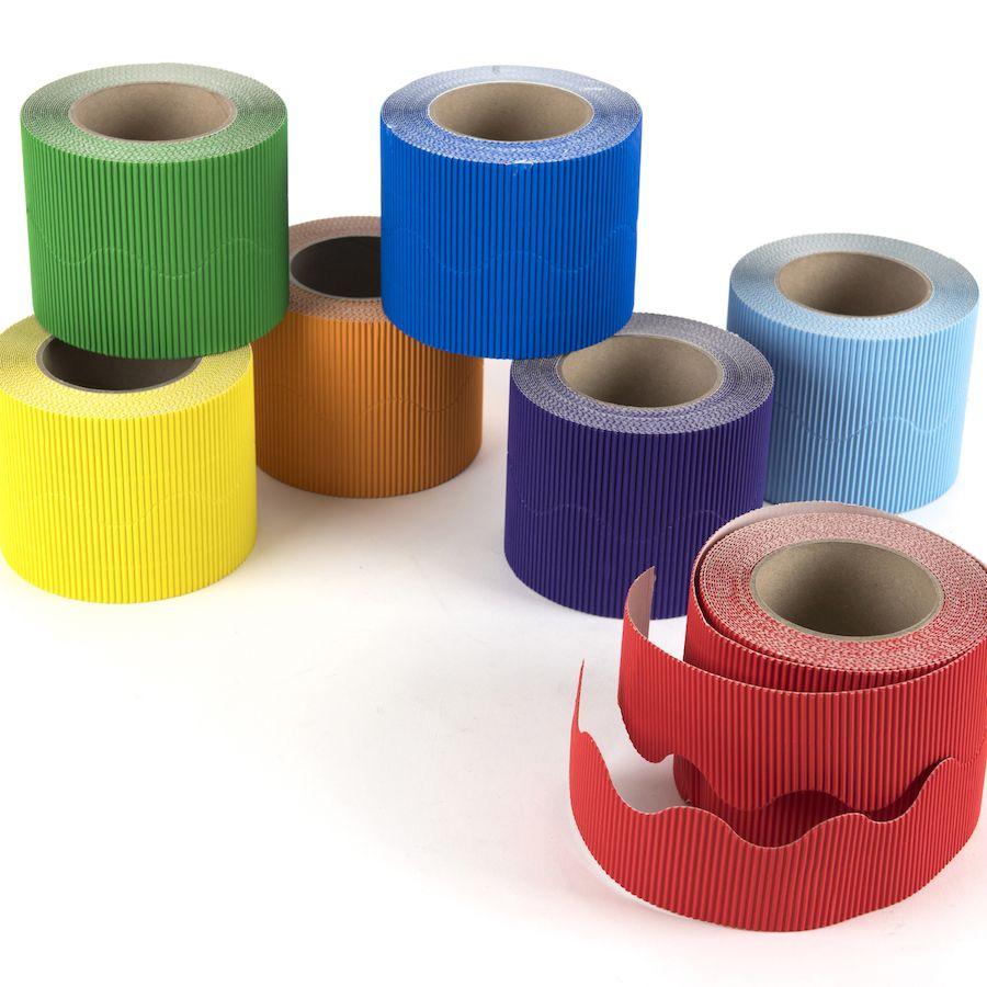 Educraft Rainbow Colours Micro-Flute Scalloped Corrugated Border Rolls - As