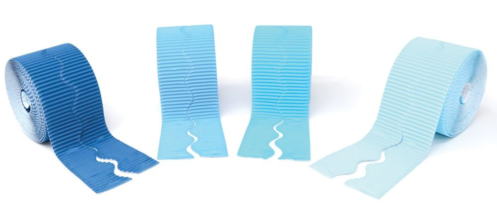 Shades of Blues Scalloped Corrugated Border Rolls - Assorted - 57mm x 5m -