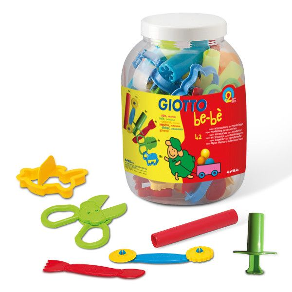Giotto Patplume Schoolpack Dough Tools & Cutters - Jar of 42