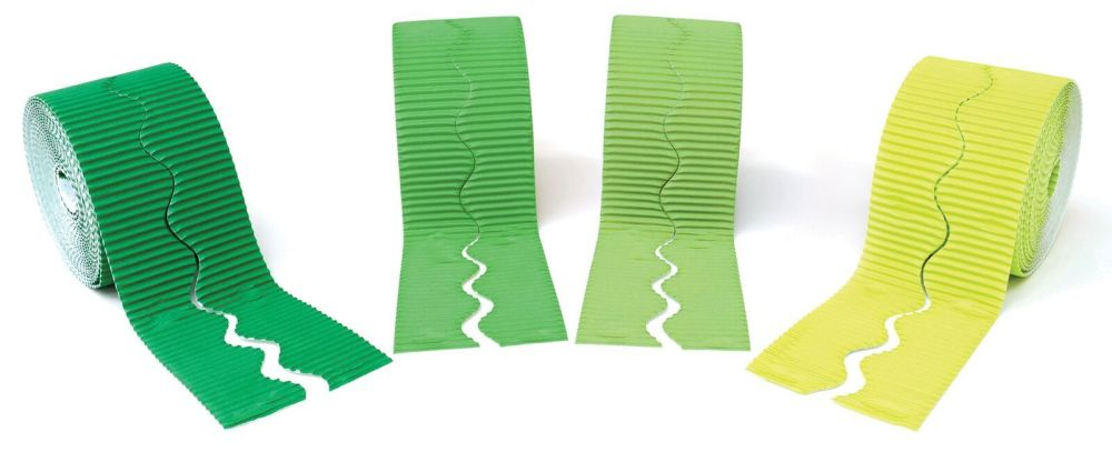 Shades of Green Scalloped Corrugated Border Rolls - Assorted - 57mm x 5m -