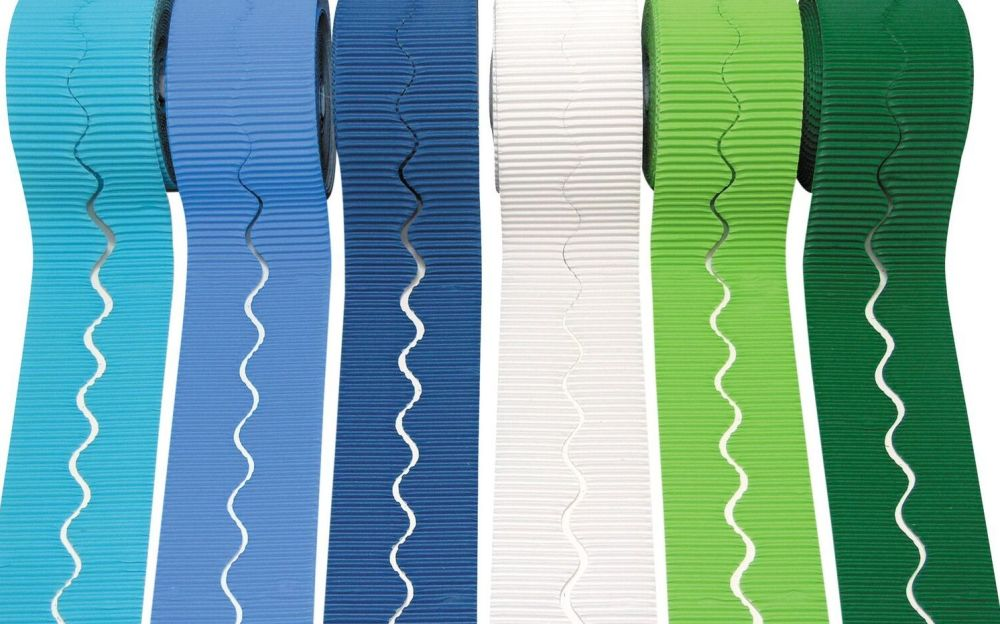 Cool Colours Scalloped Corrugated Border Rolls - Assorted - 57mm x 5m - Pac