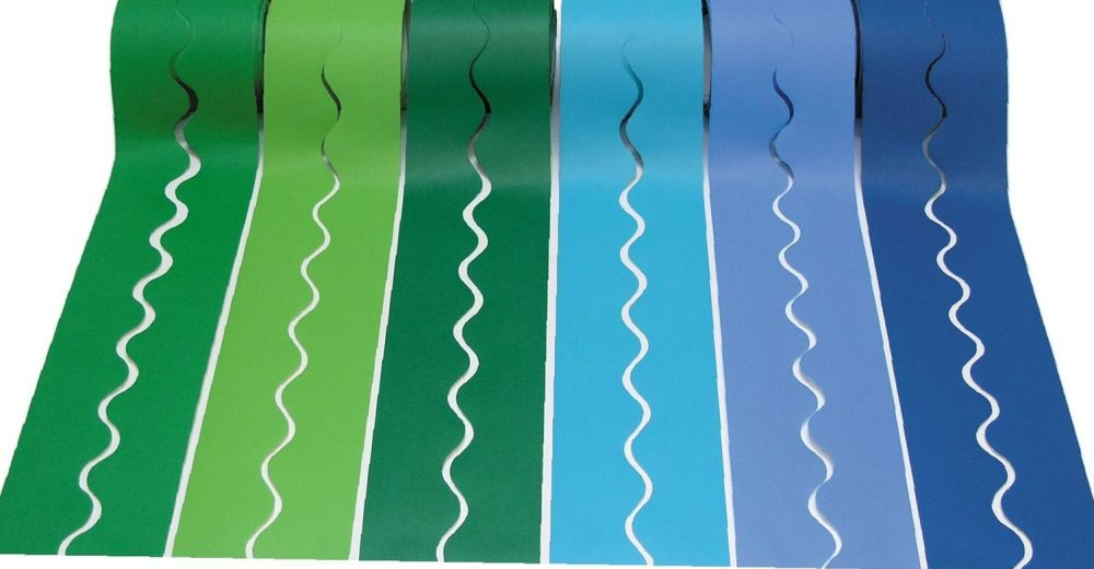 Cool Colours Fadeless Scalloped Card Border Rolls - Assorted - 57mm x 7.5m