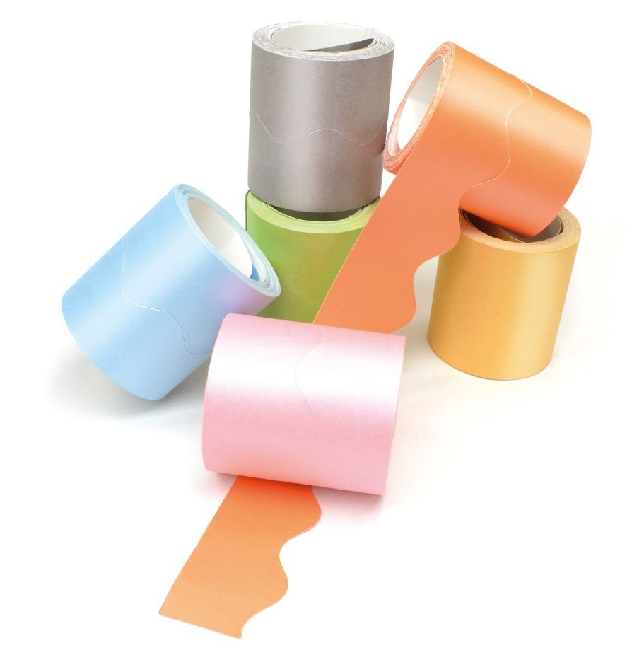 Pearlescent Card Scalloped Border Rolls - Assorted - 57mm x 7.5m - Pack of