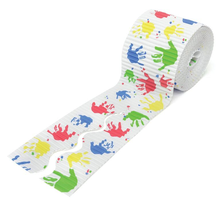 Handprints Printed Design Bordette Corrugated Straight Edge Border Rolls -