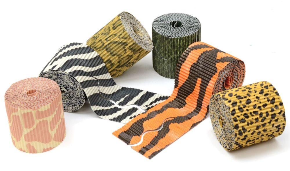 Safari Print Bordette Scalloped Corrugated Border Rolls - Assorted - 57mm x
