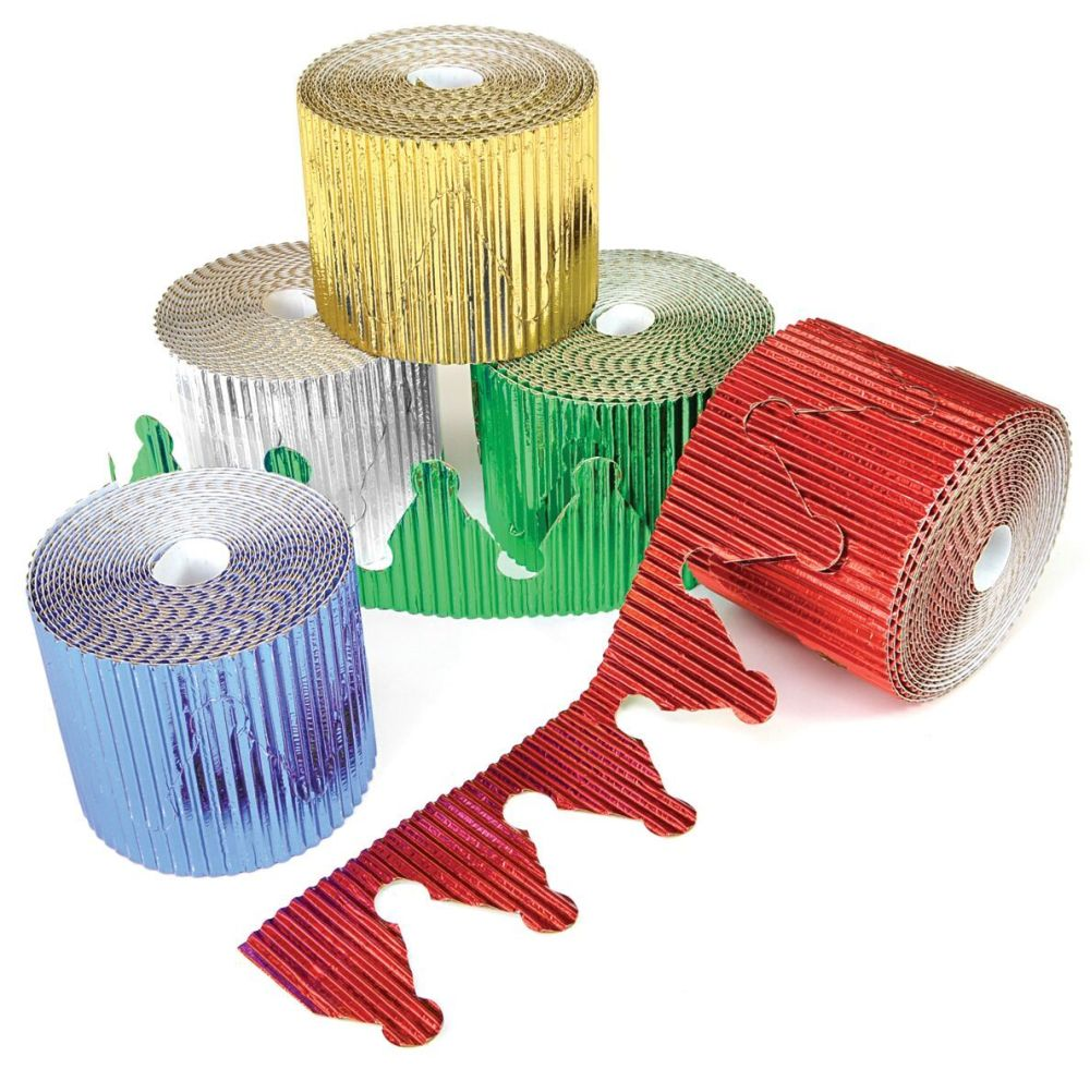 Crown Metallic Corrugated Border Rolls - Assorted - 57mm x 5m - Pack of 10