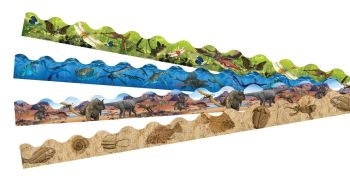 Dinosaur Terrific Border Trimmers - Assorted - 4 x 12 x 1m Strips - T-00036 - Value Pack
