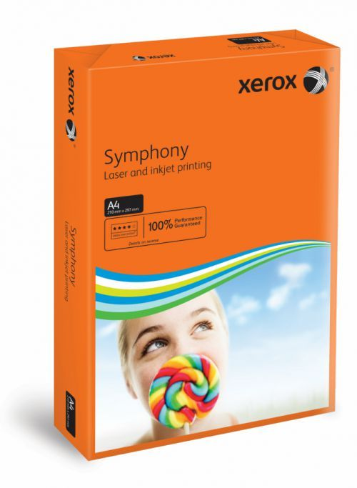 A4 Xerox Symphony Orange Card - 200 microns/160gsm - 210 x 297mm - Pack of