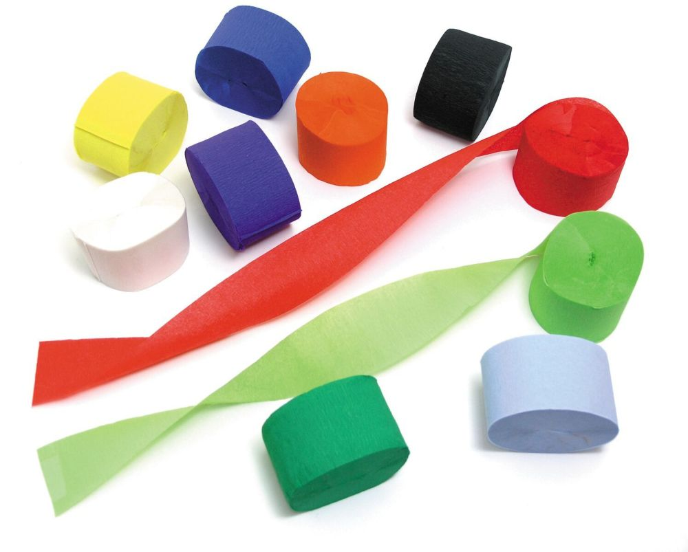 Crepe Paper Streamers - Assorted - 50mm x 24.7m - Pack of 10