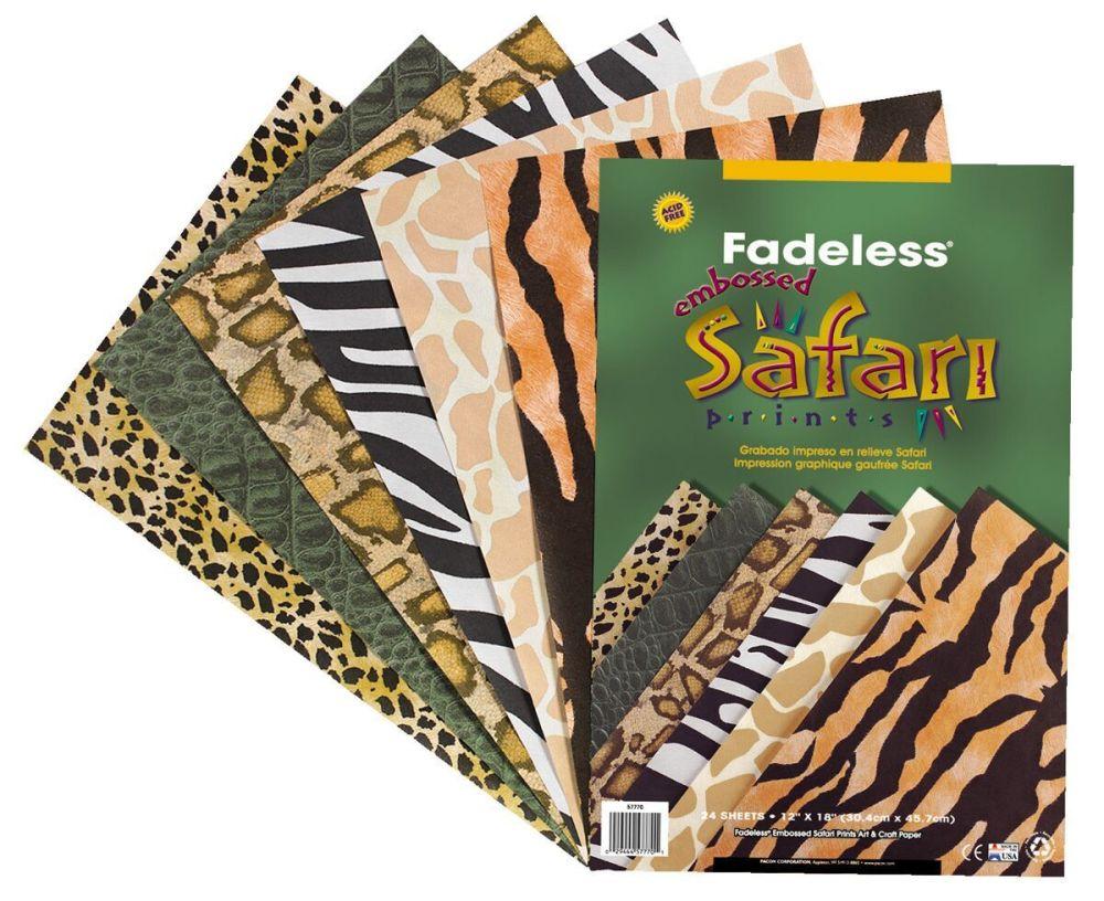 Safari Print Paper Sheets - Assorted - 304 x 457mm - Pack of 24