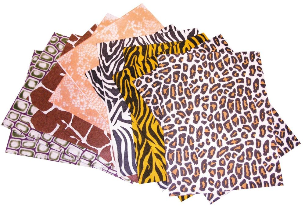 Animal Print Felt Sheets - Assorted - 305 x 228mm - Pack of 12