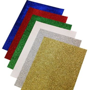 Glitter Paper - Assorted - 80gsm - 210 x 297mm - BI2555 - Pack of 12