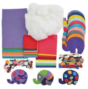 Felt Elephants Sewing Kit - 15 x 12cm - HE1561102 - Class Pack of 32