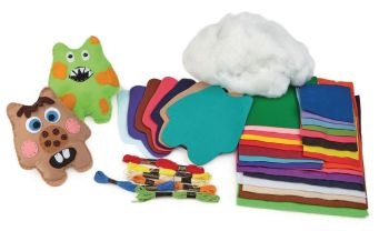 Friendly Monsters Sewing Kit - 12 x 15cm - HE1622455 - Class Pack of 32