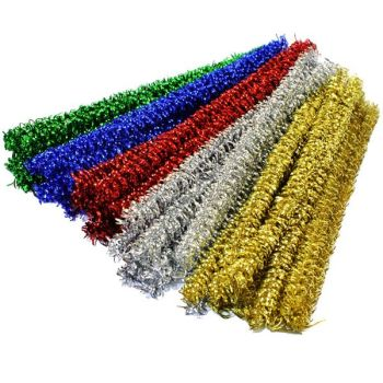 Curly Metallic Jumbo Pipe Cleaners - Assorted - 14mm x 25cm - Pack of 50