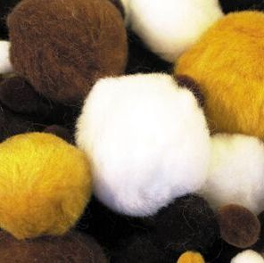 Animal Pom-Poms - Assorted Colours & Sizes - HE157566 - Pack of 100
