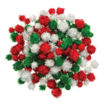 Festive Glitter Pom-Poms - HE175987 - Assorted Colours & Sizes - Pack of 130