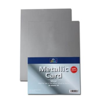 Silver A4 Card - Assorted - 280microns/225gsm - 210 x 297mm - Pack of 20