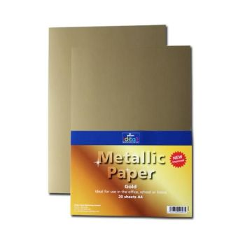 Gold A4 Paper - Assorted - 175microns/135gsm - 210 x 297mm - Pack of 20