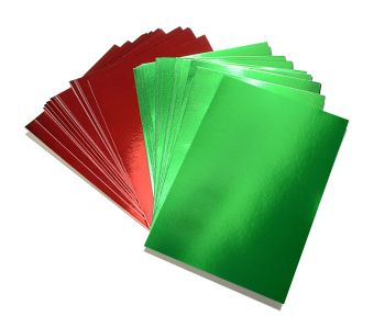Red & Green A5 Card - Assorted - 230microns/175gsm - 148 x 210mm - Pack of 50