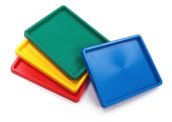 Coloured Plastic Inking Trays - Assorted - 20 x 25cm - Pack of 4