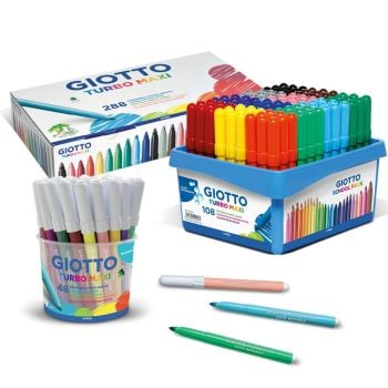 Giotto Turbo Maxi Washable Colouring Pens - Assorted - Pack of 288