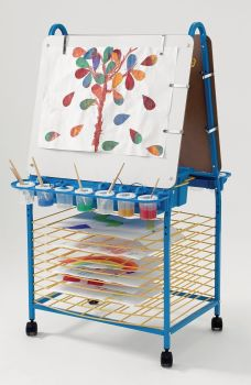 Mobile Metal Double Sided Easel and Drying Rack - 62 x 63.5 x 121cm - Each