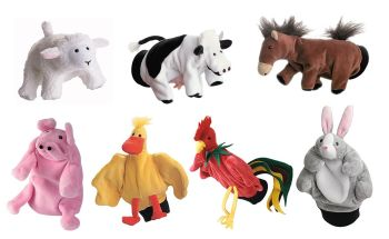 Farmyard Animal Puppets - Assorted - Pack of 7