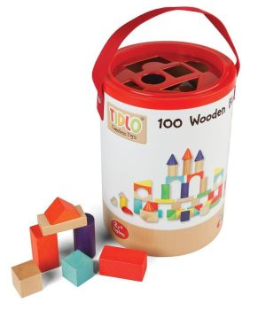 Explore Wooden Blocks with Shape Sorting Tub - Assorted - Tub of 100