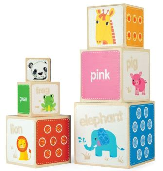 Explore Animal Stacking Cubes - Largest 15.5  x 15.5cm - Stacked Height 104cm - Per Set