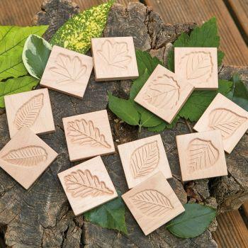 Match Me Sensory Leaf Tiles - Assorted - 6cm - Pack of 12