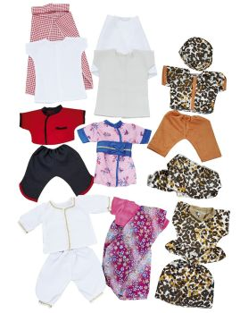 Multicultural Doll's Clothes - Assorted - HE123051 - Pack of 8