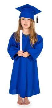 Graduation Gowns & Mortarboards - Blue - 3-5 Years - Pack of 5