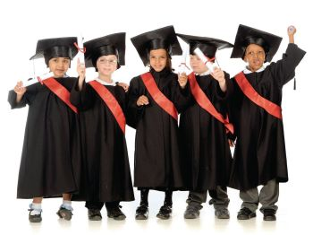 Graduation Gowns & Mortarboards - Black - 3-5 Years - Pack of 5