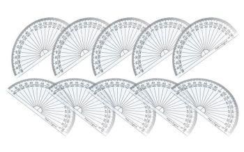 Clear Semi Circular Protractors - 10cm/180 degree - Pack of 10