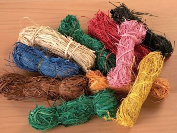 Coloured Raffia - Assorted - 50g - Pack of 10